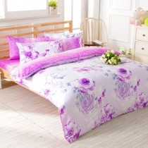 【FOCA】醉戀花憶-雙人-100%精梳純棉四件式兩用被床包組
