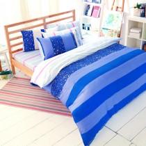 【FOCA】愛情海-加大-100%精梳純棉四件式兩用被床包組