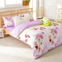 【FOCA雨露花香】加大-韓風設計100%精梳純棉四件式兩用被床包組