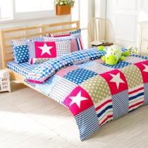 【FOCA歡樂旅行】加大-韓風設計100%精梳純棉四件式兩用被床包組