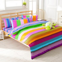 【FOCA歡樂週末】加大-韓風設計100%精梳純棉四件式兩用被床包組