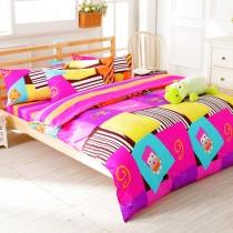 【FOCA】單純生活-雙人-100%精梳純棉四件式兩用被床包組