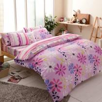 【FOCA雙城生活】雙人-韓風設計100%精梳純棉四件式兩用被床包組