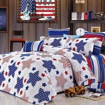 【FOCA幟熱星戀】加大-韓風設計100%精梳純棉四件式兩用被床包組