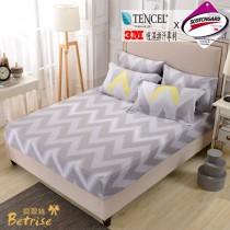 薄枕套床包組-雙人|3M專利天絲吸濕排汗|流年熠彩(台灣製)