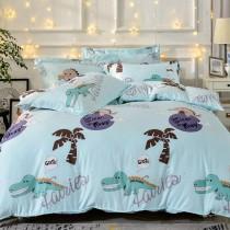 全鋪棉床罩組-加大|銀離子防蟎抗菌天絲|快樂叢林