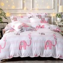 全鋪棉床罩組-特大|銀離子防蟎抗菌天絲|粉紅象園