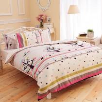 【FOCA快樂鳥兒】加大-韓風設計100%精梳純棉四件式兩用被床包組