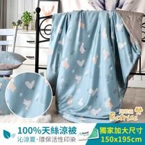 鋪棉涼被/四季被5X6.5尺 100%奧地利天絲 草泥馬樂園