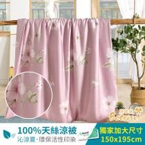 鋪棉涼被/四季被5X6.5尺|100%奧地利天絲|柔情似水-粉