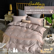 【Betrise雀翎咖】莫蘭迪系列 加大 頂級300織100%精梳長絨棉素色刺繡四件式被套床包組(贈寢具專用洗滌袋x1)