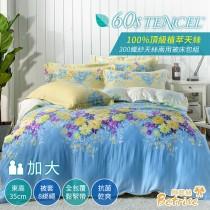 【Betrise愛麗絲】加大-頂級植萃系列 300支紗100%天絲四件式兩用被床包組
