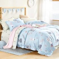全鋪棉床罩組-加大|3M專利天絲吸濕排汗|萌萌兔寶