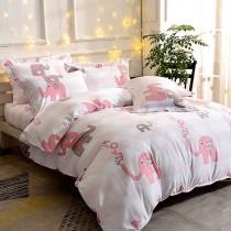 全鋪棉厚包組-單人 銀離子防蟎抗菌天絲 粉紅象園