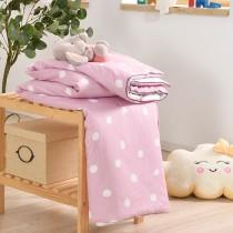鋪棉涼被/四季被5X6.5尺|300織精梳長絨棉|圈圈點點-粉